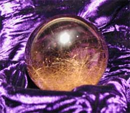 """Golden Forest"" rutilated smokey sphere"